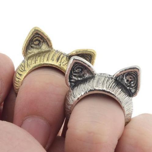 anillo orejas de gato dorado plateado mujer look regalo