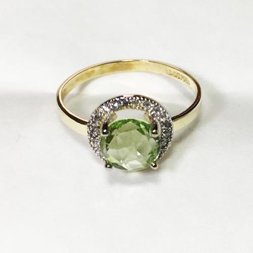 anillo oro 10k citrina verde con zirconias