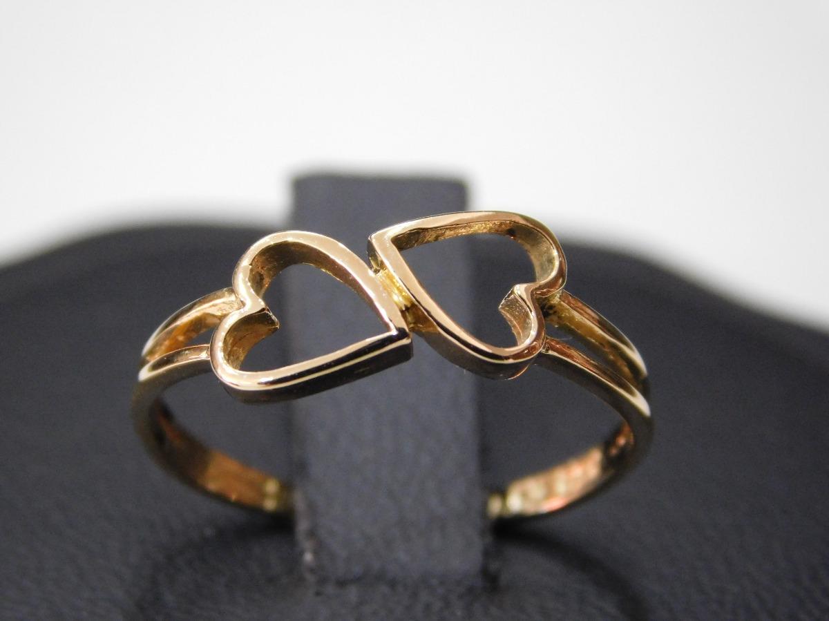 e93cc3559712 anillo oro 18 kilates doble corazón oferta! Cargando zoom.