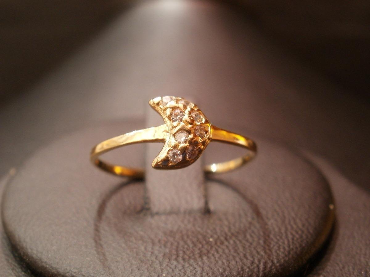 e51d22984cc3 anillo oro 18 kilates luna con cúbics blancos oferta. Cargando zoom.