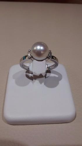 anillo oro 18 kts perla de cultivo y baguettes