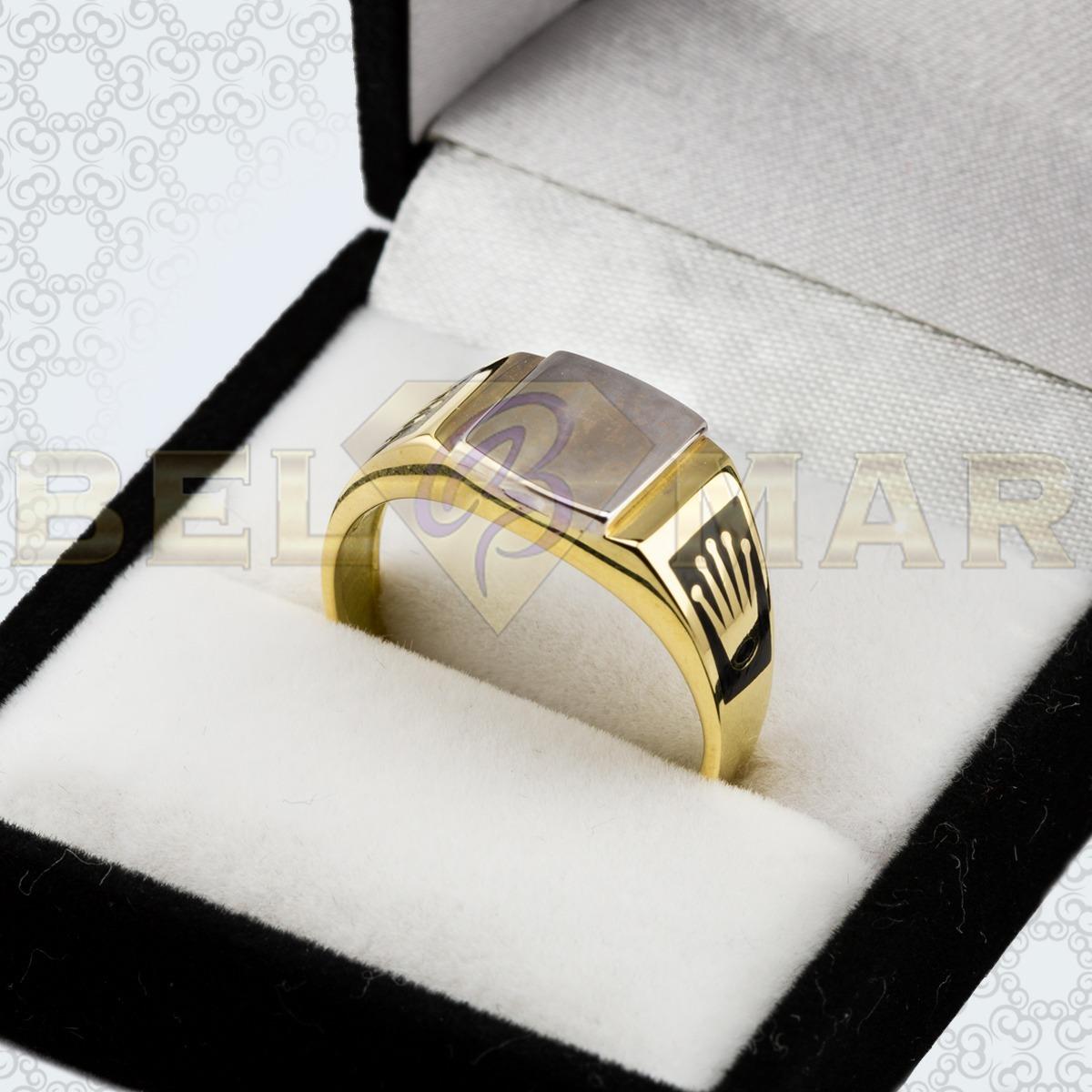 f3930a1eb642 Anillo Oro 18 Kts Sello Esmaltado Con Coronas Para Grabar
