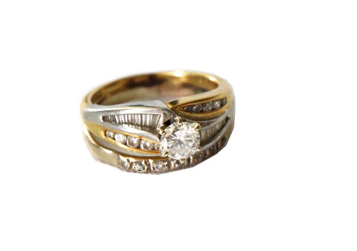 anillo oro 18k brillante chispas zirconia 8.2 gr talla 7.5