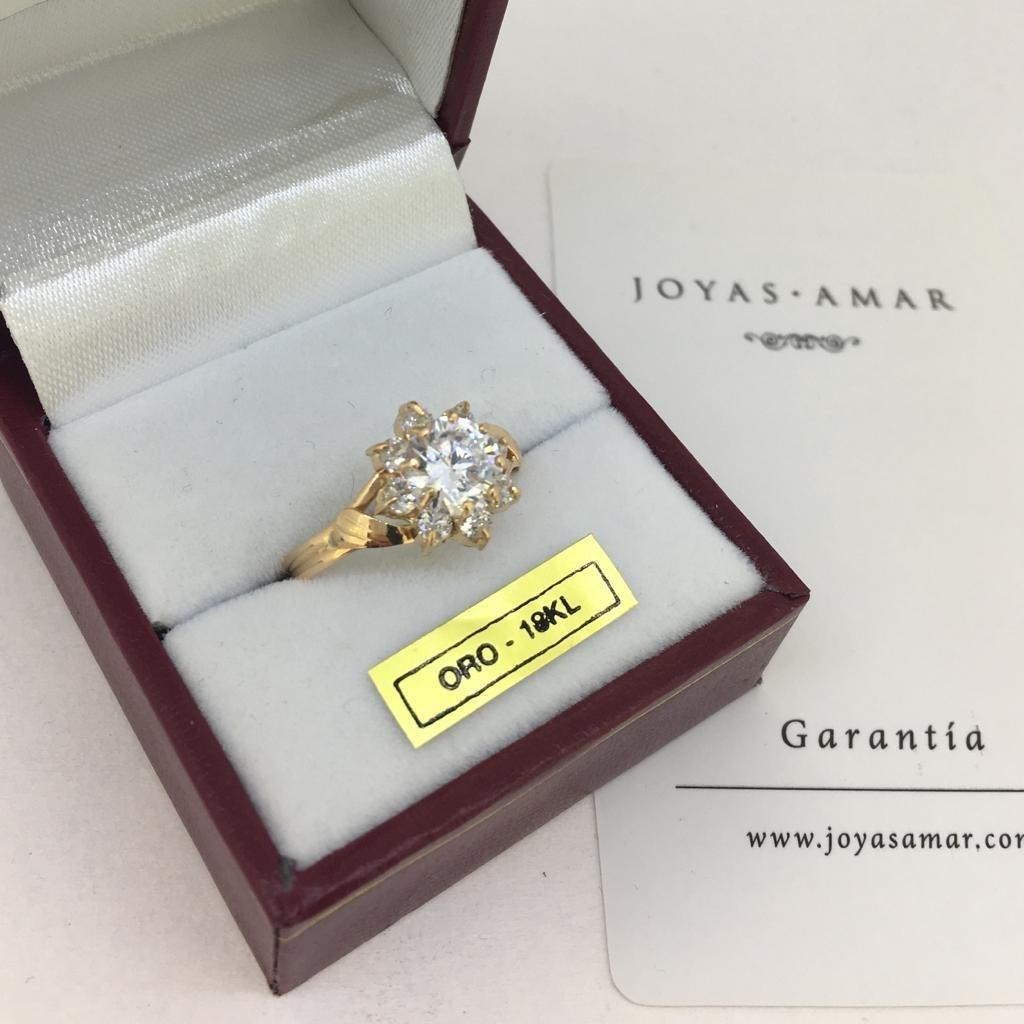 2b0c7579ba7a anillo oro 18k compromiso cintillo roseta piedras cubic. Cargando zoom.