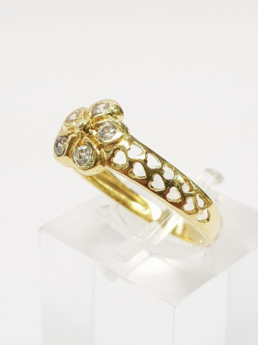 anillo oro 18k flor cubics y calado 2,3grs brumatjoyas