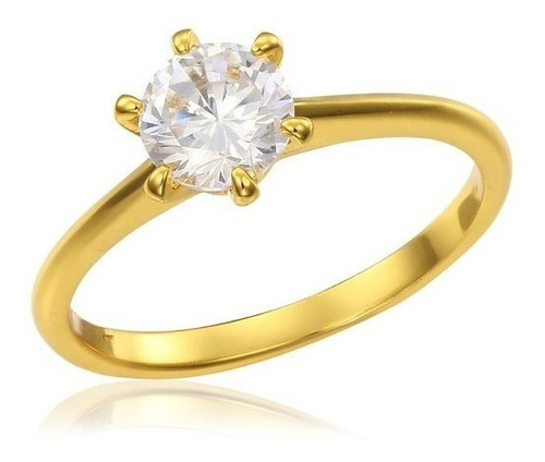 anillo oro 18k- modelo solitario- delicado- 2 grs oro- piedr