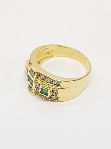 anillo oro 18k tipo sello cubics 6,5grs n°16 brumatjoyas