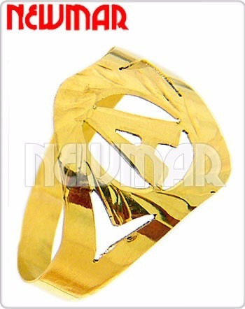 anillo oro amarillo 18 kilantes con inicial - an2776 newmar