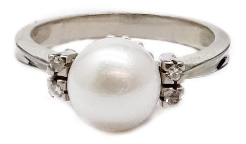 anillo oro blanco 18k. perla cultivo brillantes garantía etj