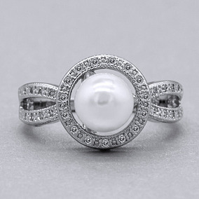 cd8fbca49eb5 Anillo Oro Blanco Platinado Con Perla Artificial Talla 6
