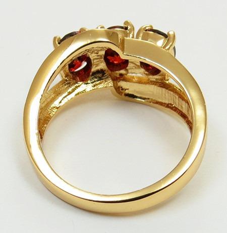 anillo oro gold filled 10k con granates de 7x5mm #7