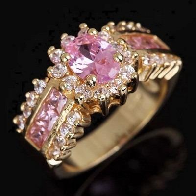 anillo oro laminado 10k con topacio oval de 6x8mm #10