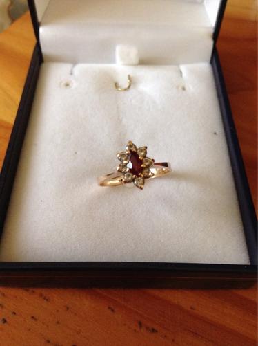 anillo oro rubí