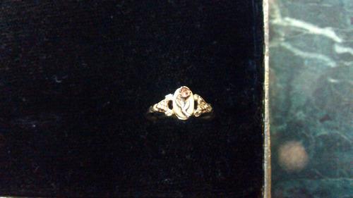 anillo oro solido florentino 10 kilates con rosa