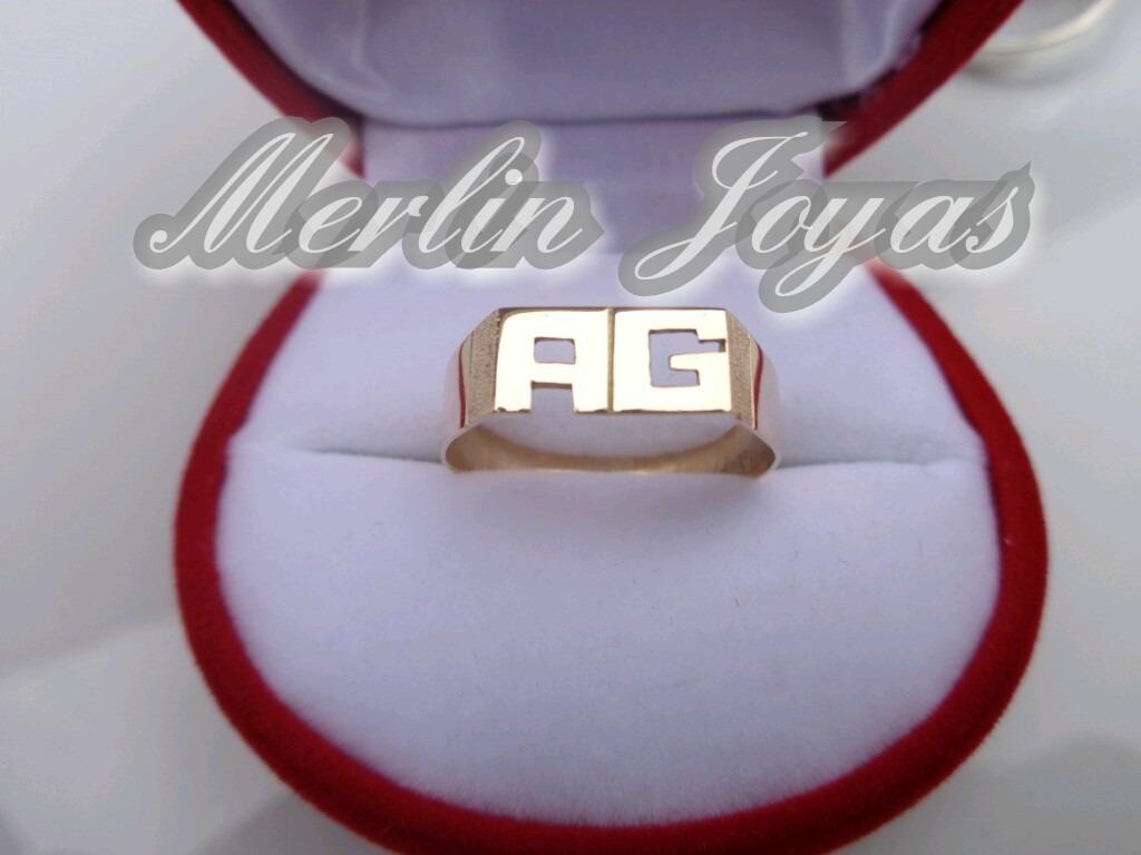 ec637e6593f3 anillo oro18k doble inicial- 2 gramos - económico - m. j. -. Cargando zoom.