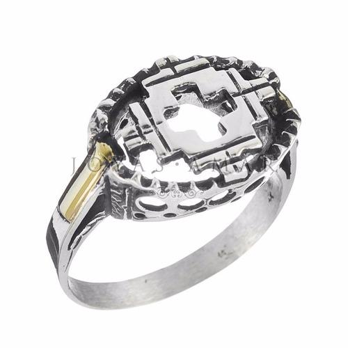 anillo oval plata y oro altura calado cruz pampa