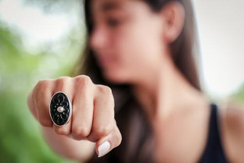 anillo ovalado de barro negro con plata-ajustable 5