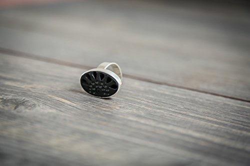 anillo ovalado de barro negro con plata-ajustable 6