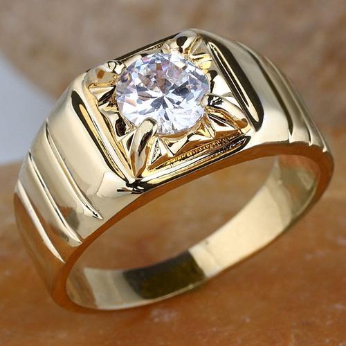 anillo para caballero con diamante de 1.00 ct. en oro de 14k
