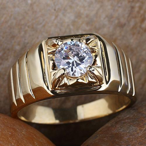anillo para caballero con moissanita de 100 pt. y oro de 14k