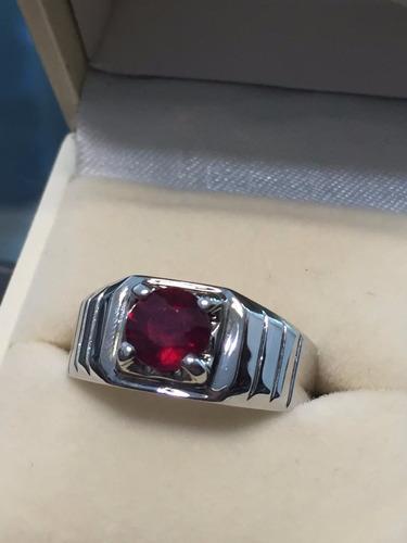 anillo para caballero con ruby natural de 1ct. en oro de 14k