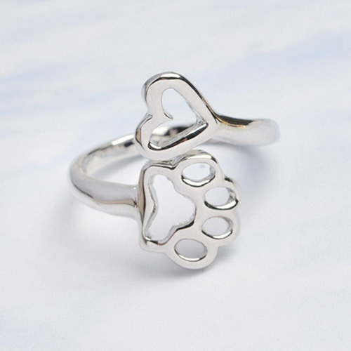 anillo pata gato perro y corazón platinado regalo a-023