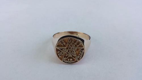 anillo pentagrama - maxima definición en oro de 10 kilates