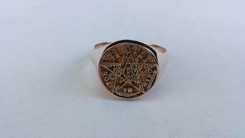 anillo pentagrama - maxima definición en oro de 14 kilates