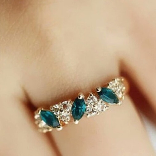 anillo perlas azules