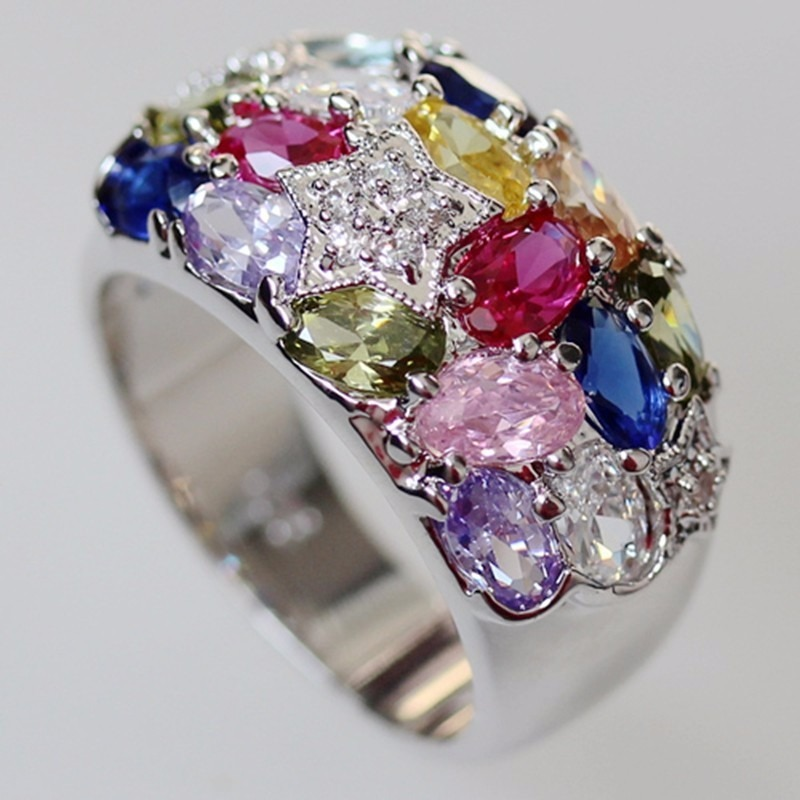 a3d4233bf117 anillo piedras colores plata 925 piedras en caja bolsa en s. Cargando zoom.