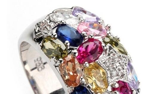 anillo piedras de colores plata 925 semipreciosas talla l
