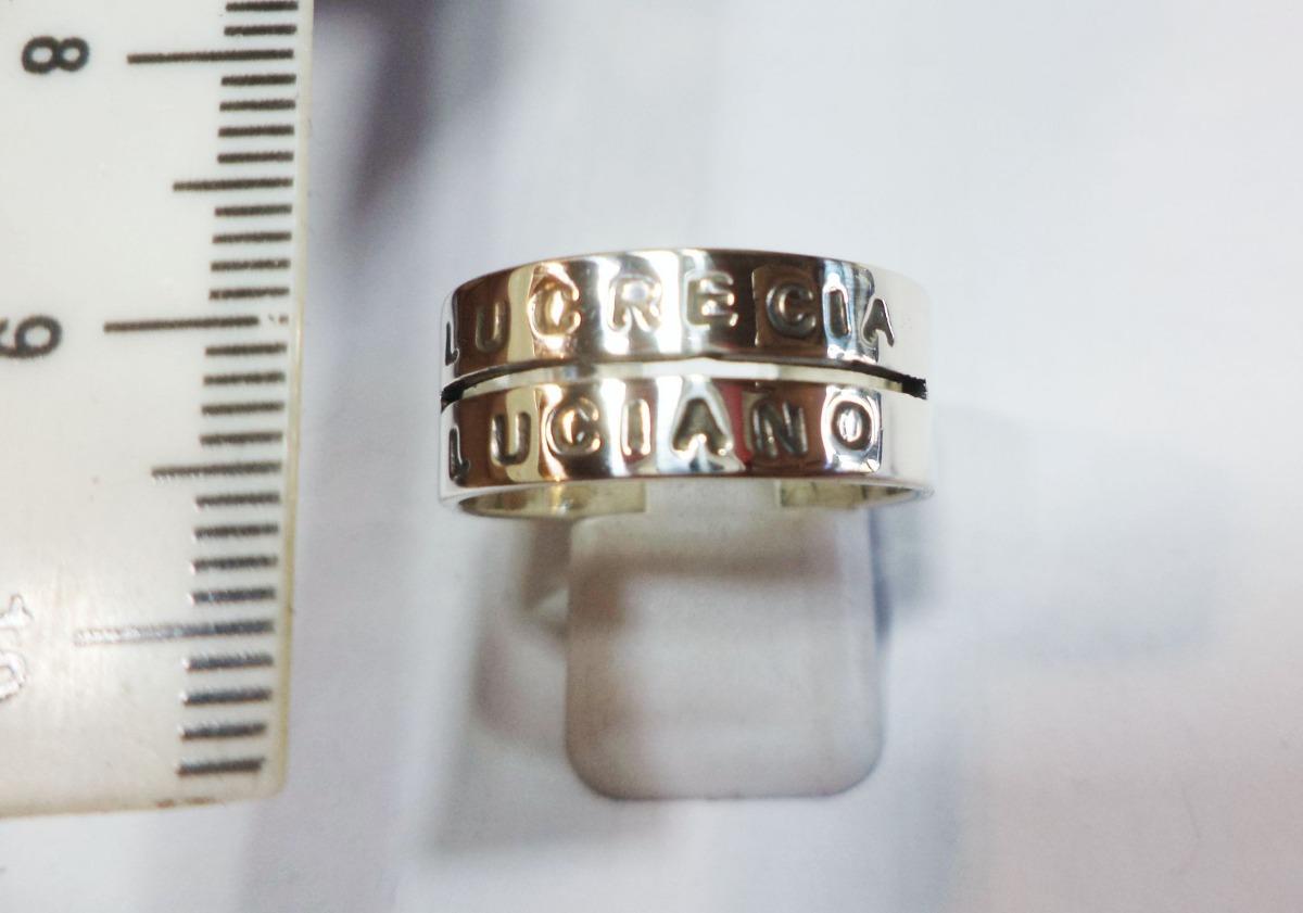 045624e9c900 anillo plata 2 nombres frases letras personalizado unico. Cargando zoom.