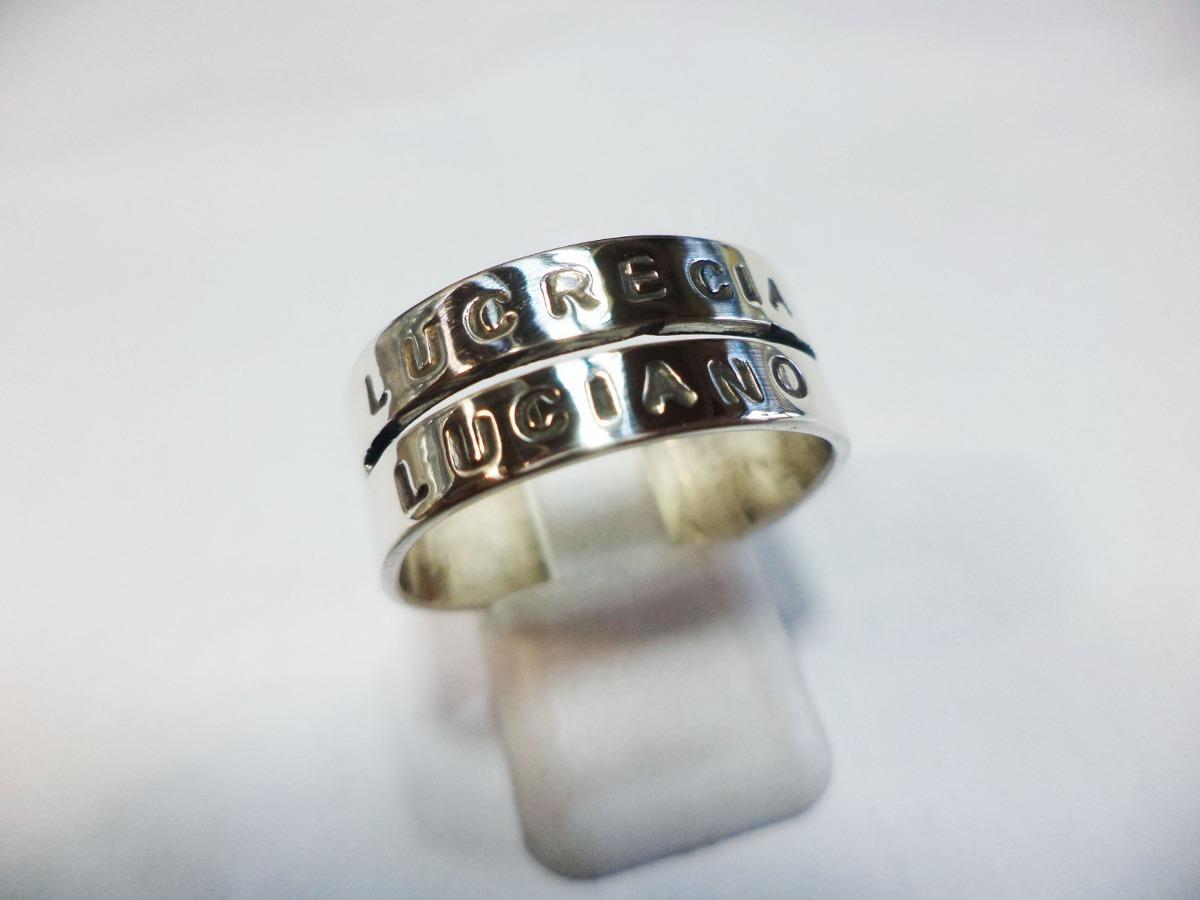 203cdd22c441 anillo plata 2 nombres frases letras personalizado unico. Cargando zoom.