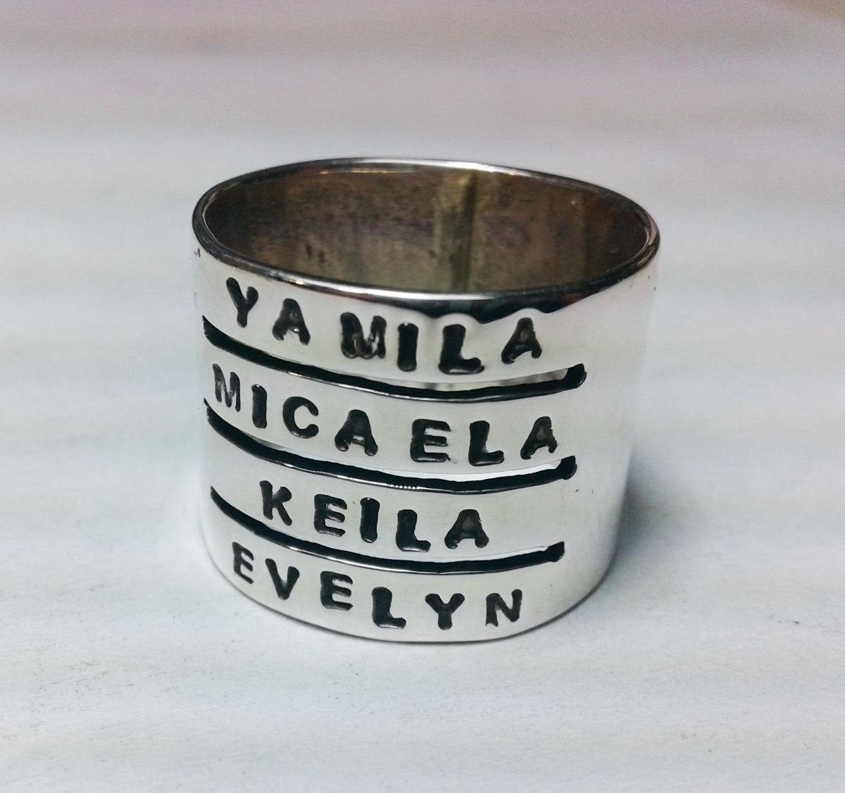 fe1213c5f366 anillo plata 4 nombres frases letras personalizado unico. Cargando zoom.