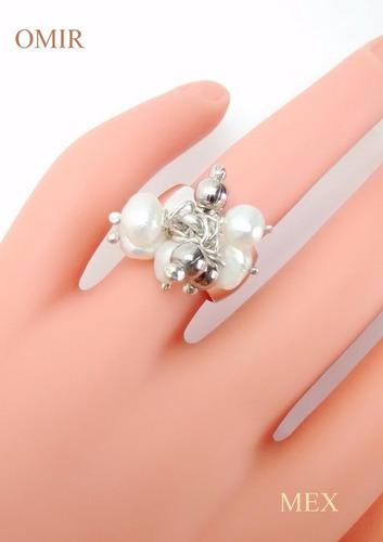 anillo plata 925 con perlitas moviles moderno