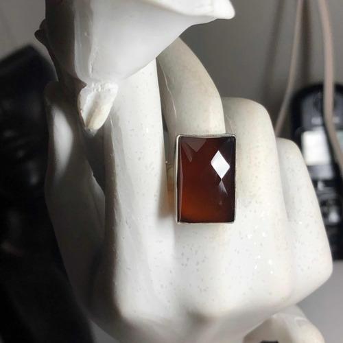 anillo plata 925, piedra cornalina natural facetada n15