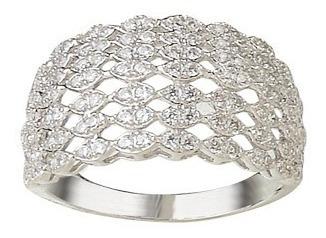 anillo plata 925 rodinada con cubics ancho mod. 10264