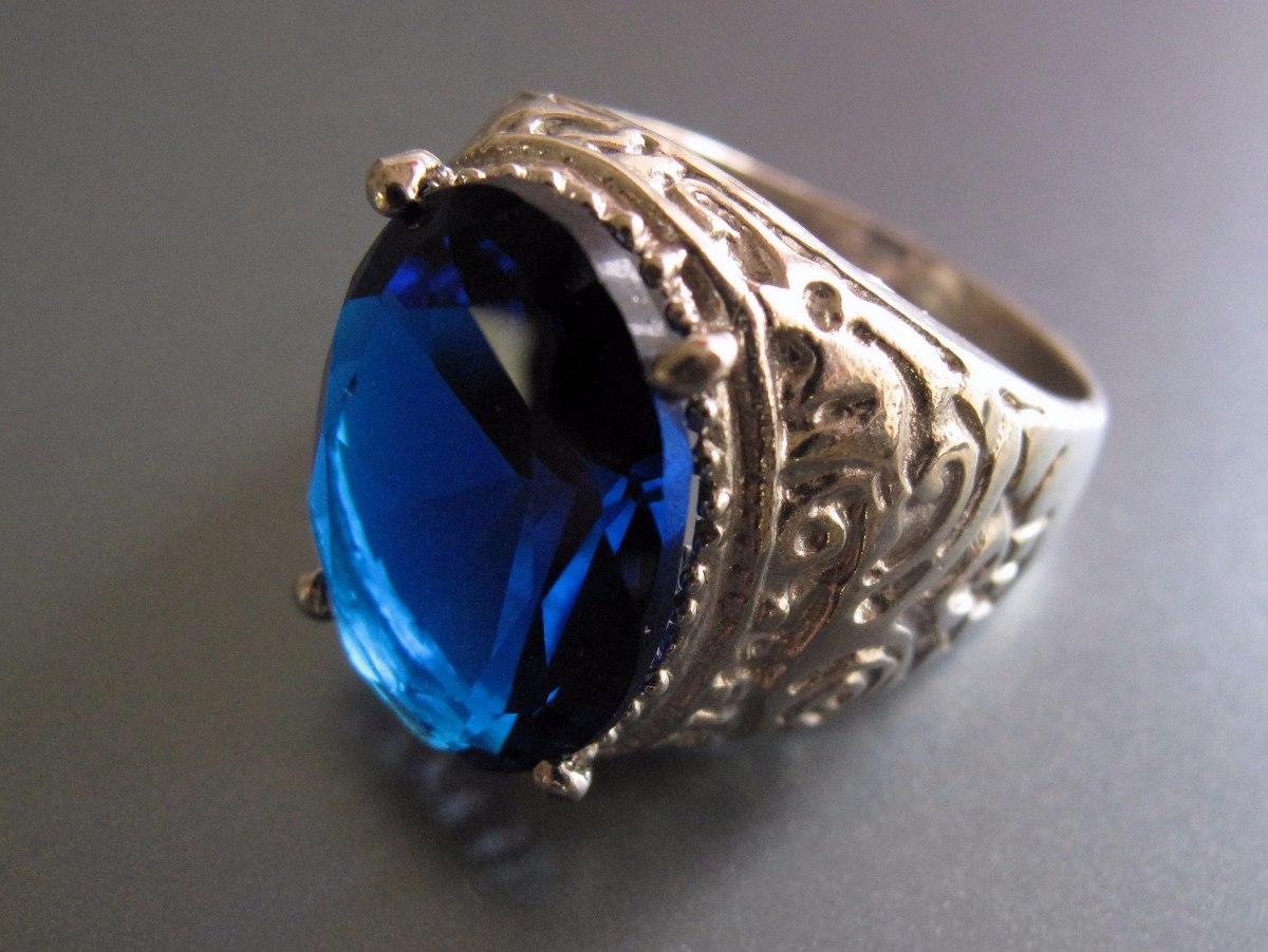 a8e4d80a834b Anillo Plata 925 Y Gran Cubic Azul Zafiro Central