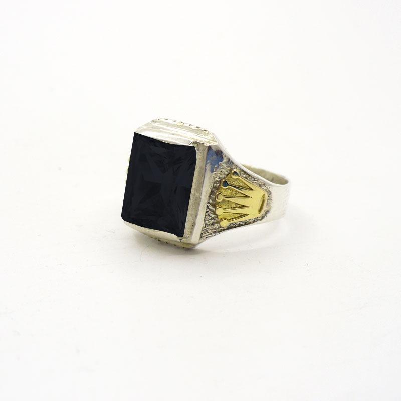629ac1590ea8 anillo plata 925 y oro sello corona hombre oro plata piedra. Cargando zoom.