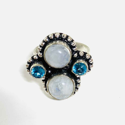 anillo plata 925,piedra lunar arcoíris n15