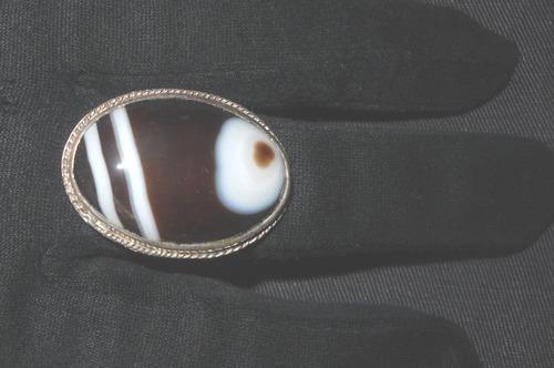 anillo plata 950 con agata veteada