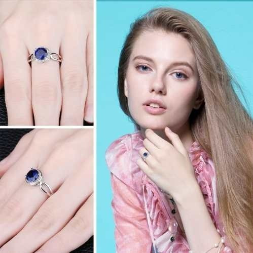 anillo plata azul compromiso talla 15
