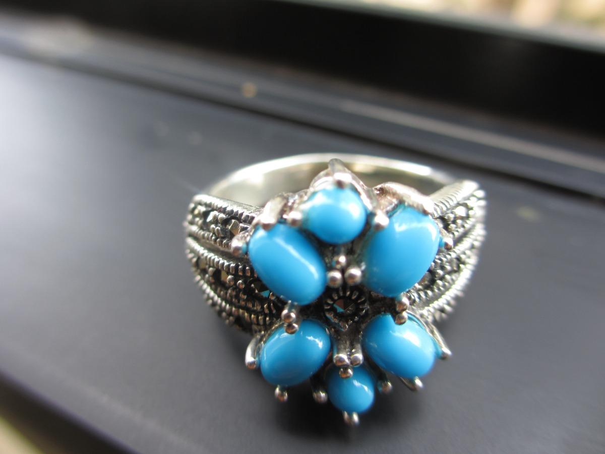 anillo plata c/ piedras maquesitas ( marcasita ) y turquezas