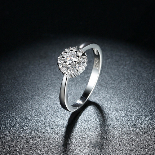 anillo plata compromiso flor amor joya