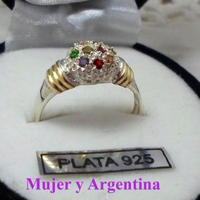 d6e75439e970 Anillo De Plata Y Piedras Multicolor - Anillos en Mercado Libre ...