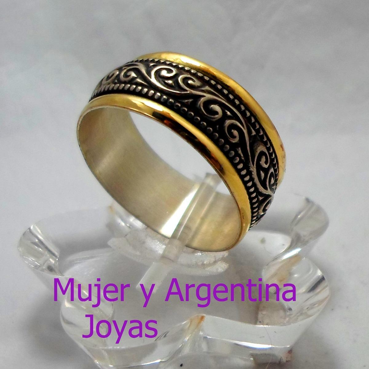 48046f7220f5 anillo plata con oro18 kts con guarda alianza nro 26 unisex. Cargando zoom.