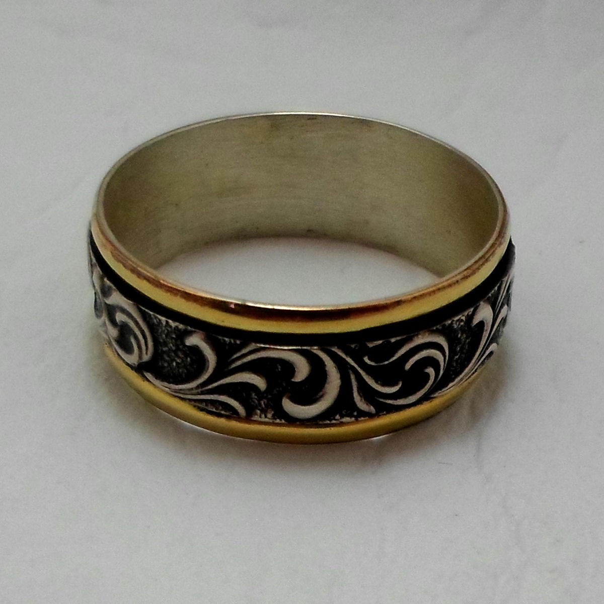 81a3a7e5c26c anillo plata con oro18 kts con ondas alianza nro 32 unisex. Cargando zoom.