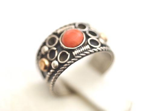 anillo plata coral y oro vintage - mika pao