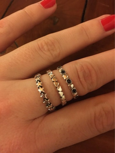 anillo plata corazones negros apilable estilo pandora