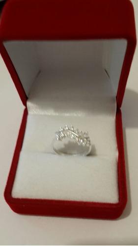 anillo plata cristales